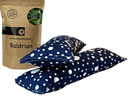 Kira Gates Katzen Spielkissen Baldrian XL | 2 Stück | Natürliches Katzenspielzeug mit unbedenklichem Füllmaterial (Stone Blue)
