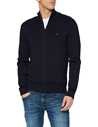 Tommy Hilfiger Pima Cotton Cashmere Zip Through Maglione, Desert Sky Heather, S Uomo