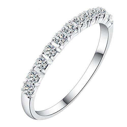 Anillo de compromiso para mujer, de plata de ley 925, con diamantes de imitación, de Steellwingsf