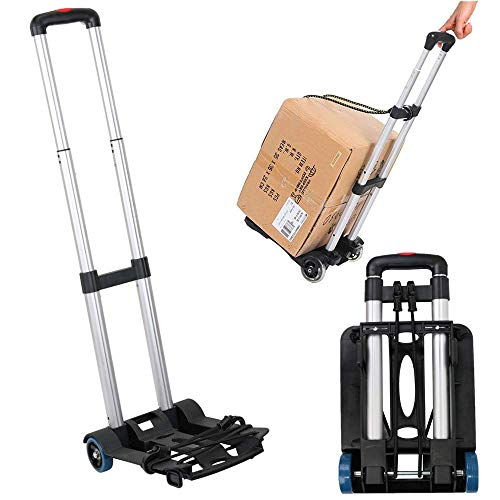 Storage Portable Folding Hand Truck, 90 lbs Aluminum Heavy Duty 4 Wheel Roate Solid Construction Compact and Lightweight Utility Hand Cart for Luggage, Travel, Auto, Moving Kitchen Trolley