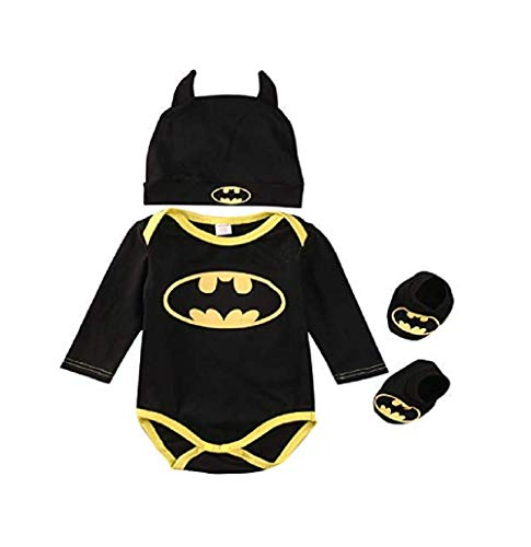 3 Unids Ropa Bebe Verano BEB¨¦S Reci¨¦N Nacidos Bebe Ni?Os Batman Mamelucos Zapatos Trajes De Sombrero Ropa Set BEB¨¦ Fresco Traje De Tela De Batman (Negra B, 70(0-6 Meses))