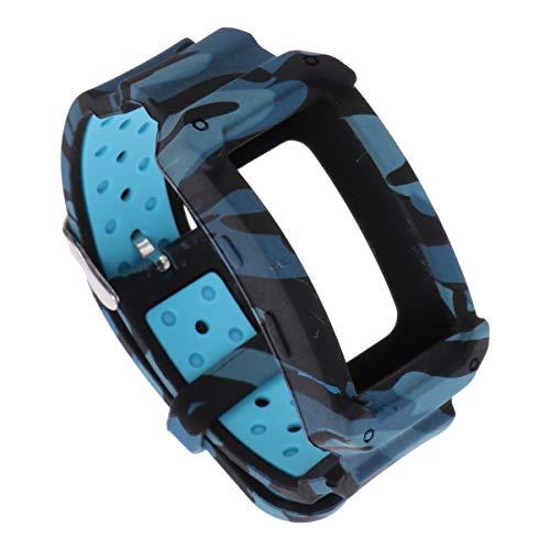 NICERIO Compatível com pulseiras de substituição de silicone macio para Samsung Gear Fit2 R360 Pulseira de relógio inteligente à prova de choque para mulheres homens, Blue Camouflage Pattern, 26x3 cm
