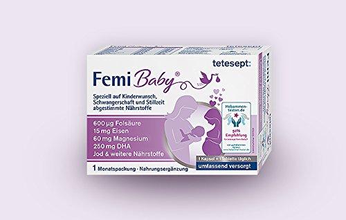 tetesept Femi Baby Spar-Set 2x1 Monatspackung. Kinderwunsch, Schwangerschaft und der Stillzeit führen zu einem erhöhten Nährstoffbedarf. Femi Baby trägt zu einer umfassenden Versorgung bei.