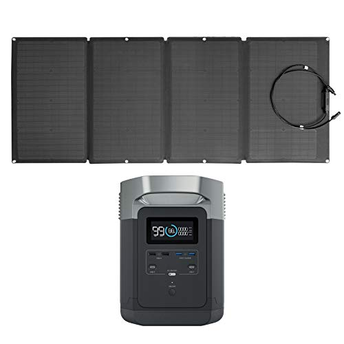 EF ECOFLOW EFDELTA Solar Generator 1260Wh with 160W Solar Panel, 6 X 1800W (3300W Surge) AC Outlets, Portable Power Station for Outdoors Camping RV High-Power Appliances Emergency