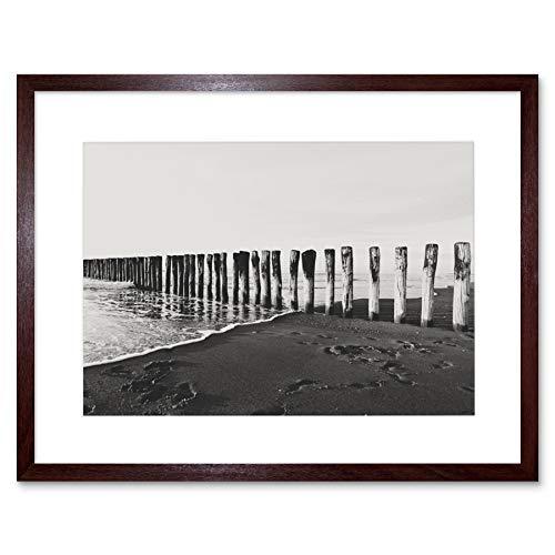 Wee Blue Coo LTD Photo BW Wood Stakes in Beach 12x16 Framed Art Print F12X10718