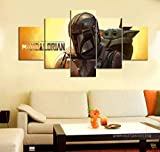 Samorou Poster Artwork Sticker Movie Star Wars The Mandalorian Baby Yoda 5 Piece Wall Picture For Home and Living Room Decor - Style-6 Marco De Madera