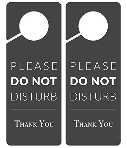 Do Not Disturb Door Hanger Sign, 2 Pack (Printed on Both Sides), 9.3″x3.5″PVC Plastic, Please Do Not Disturb Sign for Home, Office, Hotel, Bathroom, Bedroom, Pumping, Breastfeeding, Therapists, Clinic