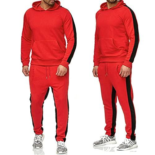 Trajes De Pista para Hombres 2 Piezas, Trajes De Jogging Conjuntos De Sudaderas Chaquetas Y Pantalones para Jóvenes,Rojo,XL