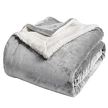 Chicwe Kleverise Sherpa Fleece Blanket Throw Size – 500GSM Soft Warm Reversible Fuzzy Blanket - Cozy Comfortable Plush Throw Blanket for Bed Sofa Couch and Pet Silver Grey 50x60 in