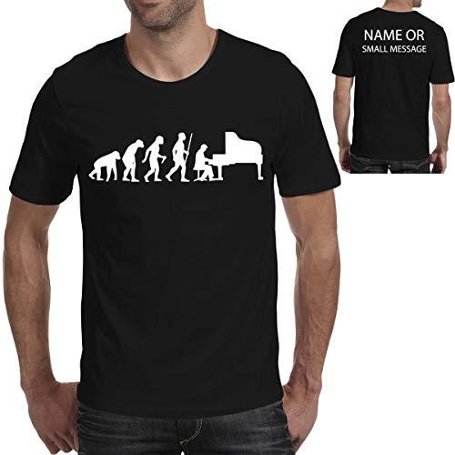 MGEAR Evolution of Piano Player Funny Men T Shirt T-Shirt op maat gemaakte tekst gedrukt tee verjaardagscadeau zwart