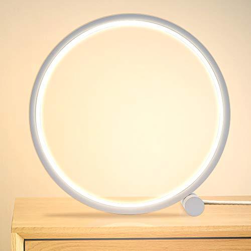 Kreis Dimmbare Tischlampe Schreibtischlampe 3 LED Farben aus Aluminium, Moderne Design Nachttischlampe Tischleuchte Leselampe für Kopfteil Schlafzimmer Wohnzimmer Büro Kinder Lampe Warmweiß