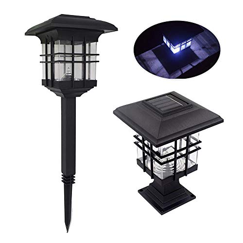 leegoal Solar Pillar Light Waterproof Landscape LED Post Lamp for Outdoor Garden Park Patio Gate Decor