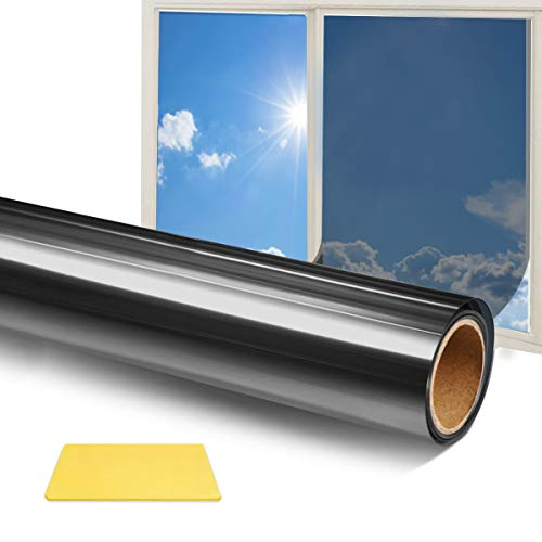 Qxmcov Spiegelfolie Selbstklebend, Fensterfolie Selbsthaftend Sichtschutzfolie Fenster Anti-UV statisch haftende Folie Für Zuhause Schlafzimmer Büro Badzimmer (Grau, 44.5 x 200 cm)