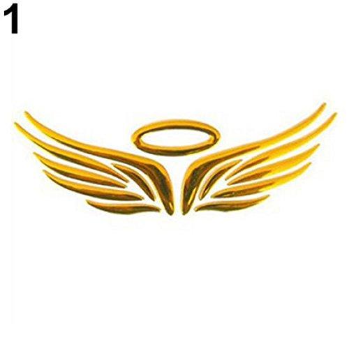 Mingsa Store 3D Car Sticker External Decoration Car Sticker 3D Angel Fairy Wings Pattern Car Auto Truck Badge Sticker Windshield Door Decor - Gold