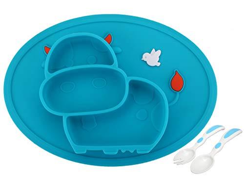 Baby Teller Schüssel Mini Silikon Tischset für Baby Kleinkinder und Kinder Tragbar Teller Baby Rutschfest Babyteller Tischset für die meisten Hochstuhlschalen(Kuh-4Blue)