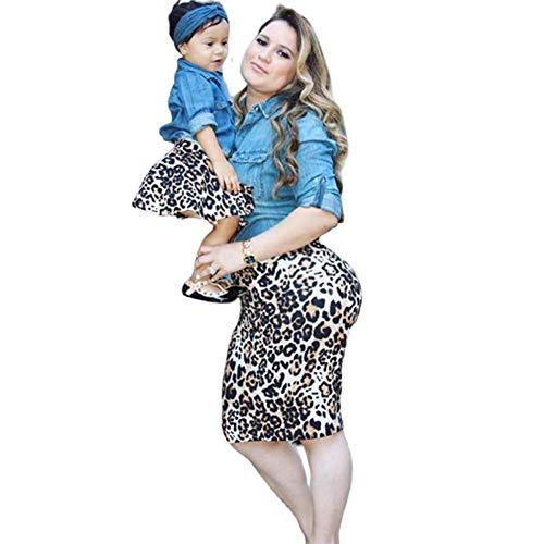 Strandkleid Mutter Tochter,Mutter-Tochter-Kleid Family Partnerlook Matching Outfits Kinder Baby Mädchen Denim Jeans Shirt Leopard Rock und Stirnband 3 Stück Outfit Set (Mutter, S)