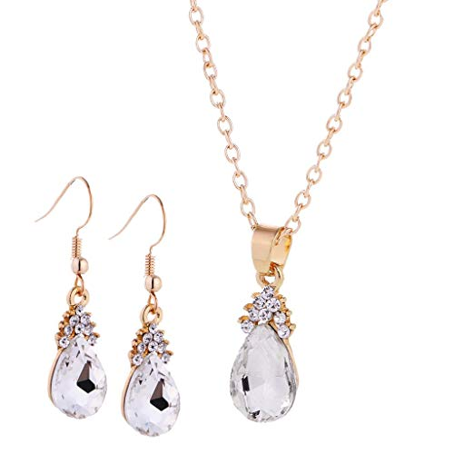 1 par de pendientes collar conjunto de lujo diamantes de imitación boda fiesta fiesta fiesta moda joyería conjunto blanco negro