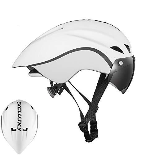 Exclusky Aero Road Bike Helmet with Shield Triathlon TT Cycling Helmets for Men Women Adjustable M L