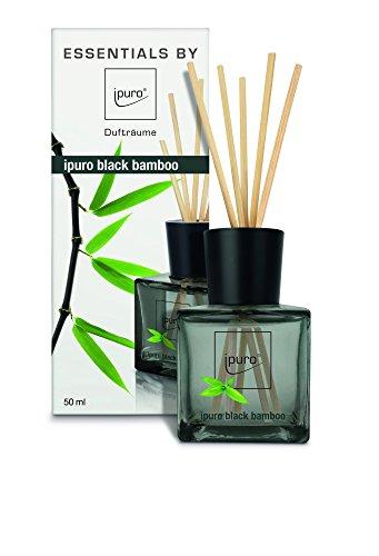 ipuro Essentials Raumduft black bamboo - Raumduft für ein herb-frisches Raumklima - Lufterfrischer mit hochwertigen Inhaltsstoffen (50ml) - aus Glas mit Rattanstäbchen