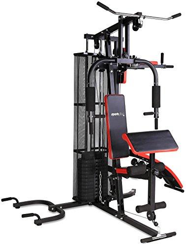 SportPlus Multi Gym Stazione Fitness Multifunzionale per Casa con Pesi incl. Allenamento per Tutto il Corpo, Panca Multifunzione con Istruzioni di Montaggio e Esercizi, Sicurezza Testata, Nero/Rosso