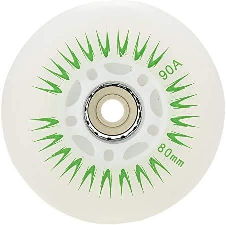 FZYJ 8 stücke leuchten Inline Skate räder, 70mm 72mm 80mm LED-Flash-Rad mit ABEC-Lager für Kinder & Teenager für Kinder Teenager Räder Anfänger Skate Ersatzrad (Color : Green, Size : 80mm)