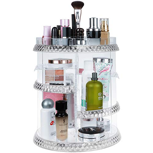 Makeup Organizer Rotation 360 Degree,7 Layers Adjustable, Storage Different Kinds of Cosmetics,Multi-Function Large Capacity Makeup Storage Organizer, Great for Bathroom Dresser Vanity