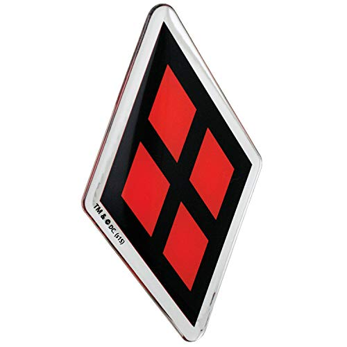 Fan Emblems Harley Quinn Logo Auto Aufkleber gewölbt/rot/schwarz/verchromt, DC Comics Batman Automotive Emblem Gilt leicht für Autos, LKWs, Motorräder, Laptops, Handys, fast alles