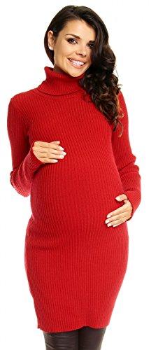 Zeta Ville Damen - Umstands Figurbetontes Polokragen Geripptes Strick-Kleid 417c (Rot, 36-40, ONE Size)