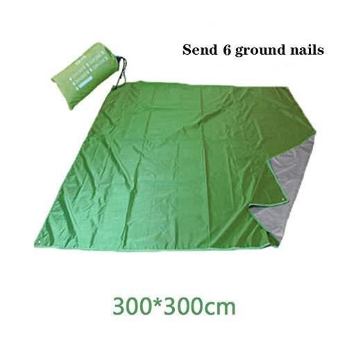 Picknickdecke, extra große Strandmatte Bodenplatte Zelt Plane, wasserdichte sanddichte kompakte Plane, für Camping Wanderfest Grass Travel (mehrere Größen)-Grün_300 * 300 cm
