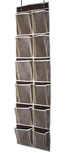 MISSLO Heavy Duty Over Door Organizer Hanging Shoe Storage for Narrow Door with 12 Large Mesh Pockets Coffee