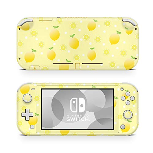 ZOOMHITSKINS Switch Lite Skin Decal Stickers, Yellow Lemons Juice Fruits Tree Leaf Lime Citrus Pale Blond Gloss Anime Kawaii, High Quality, Durable, Bubble-free, Goo-free, 1 Console Skin, Made in USA