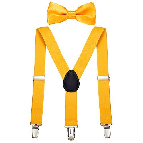 DonDon Jungen Hosenträger Fliegen Set gelb elastisch und längenverstellbar für Kinder von 1-8 Jahre