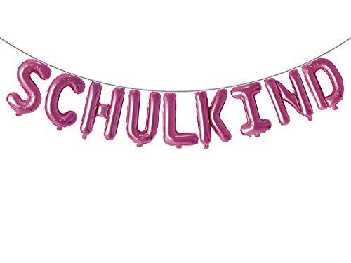 Trendario Schulkind Folien Luftballon Girlande Banner - Pink - Hänge Deko für Schuleinführung Einschulung Schulanfang Schulstart Dekoration Schule Für Mädchen & Jungen