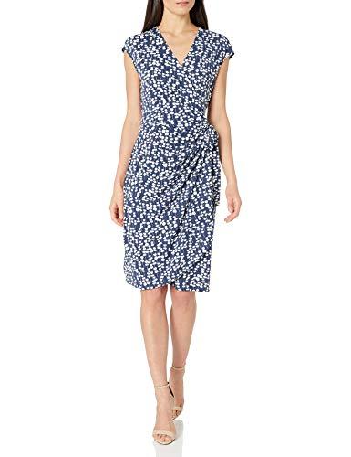 Amazon Brand - Lark & Ro Women's Classic Cap Sleeve V-Neck Compact Matte Jersey Wrap Dress, Navy White Mini Floral , X-Small