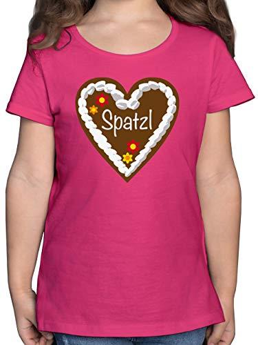 Preisvergleich Produktbild Oktoberfest Kind - Lebkuchenherz Spatzl - 164 (14 / 15 Jahre) - Fuchsia - F131K - Mädchen Kinder T-Shirt