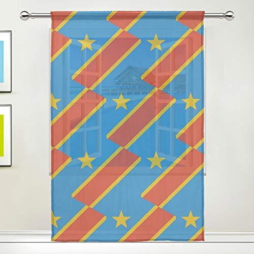 SD3DPrint Kongo-Kinshasa-Flaggen-Fenstervorhang, transparent, 139,7 x 213,4 cm, Gaze-Vorhang für Wohnzimmer, Schlafzimmer, Heimdekoration