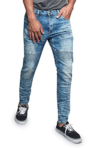 Victorious Men's Sectioned Ribbed Thigh Padded Knee Bleached and Artisanal Creased Biker Denim Jeans DL1197 - Indigo - 36/34 - R2D