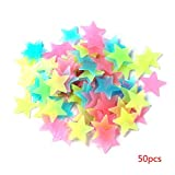 Uokoki 50pcs / Set 3cm 3D Glow Estrellas Luminosas Fluorescentes Wall Stickers Kids Pared del Dormitorio decoración de la Etiqueta