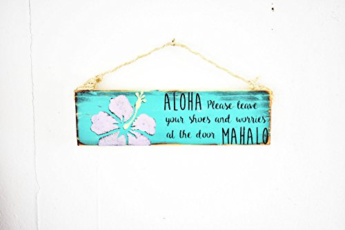 Ruskin352 Please Remove Your Shoes Sign Dorm Room Decor Yoga Decor Sea Gypsy Signs Hawaiian Remove Shoes Aloha Entry Sign Door Wood Sign
