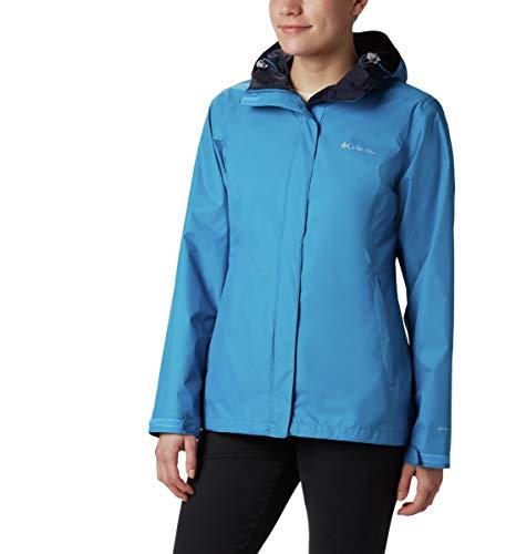 Columbia Women's Arcadia II Waterproof Breathable Jacket with Packable Hood, Fathom Blue, X-Large