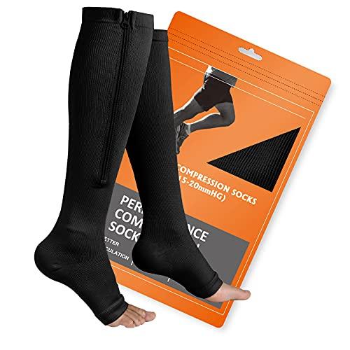Zipper Compression Socks, 2 Pairs Open Toe...
