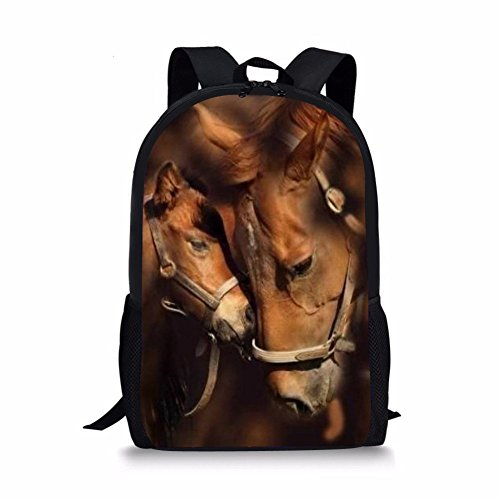 School Bags For Teenager Cute Two Horses Print Personalized Children Backpack