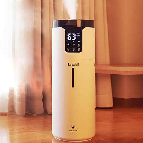 Lacidoll 16L Tower Humidifiers for Large Room 1000 sq.ft, 4.2GalTop Fill Cool Mist Ultrasonic HumidifierQuiet 1500mL/hOutput with 360° Mist Tube4SpeedsHumidistat for Home School Office Workshop Greenhouse, Easy to Clean, White