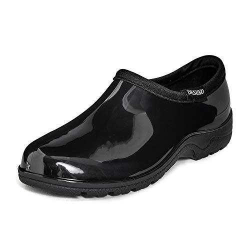 DKSUKO Women's Waterproof Garden Shoe Lightweight Rain Footwear with Comfort Insole (Black, 11)