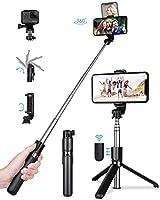 【Abnehmbare Bluetooth-Fernbedienung】--TVACHE selfie stick tripod wird mit einer abnehmbaren Bluetooth-Fernbedienung für Freisprechaufnahmen geliefert, Geben Sie Ihre Hände frei, um Videos oder Facetime mit Ihrer Familie oder Freunden aufzunehmen. 【Ei...