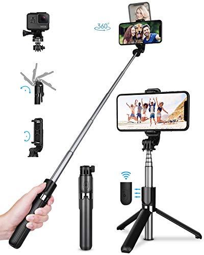 TVACHE Bluetooth Selfie Stick Stativ, 4 in 1 Erweiterbar Monopod Wireless Selfie-Stange Stab 360°Rotation mit Bluetooth-Fernauslöse für iPhone Android, Digitalkameras GoPros und mehr - Selfie Tripod