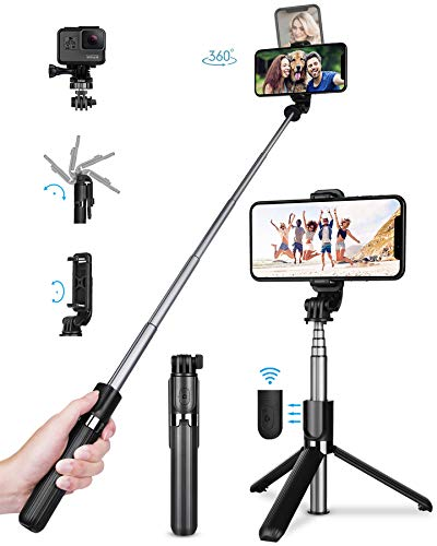 TVACHE Bluetooth Selfie Stick Stativ, 4 in 1 Erweiterbar Monopod Wireless Selfie-Stange Stab 360°Rotation mit Bluetooth-Fernauslöse für iPhone Android, Digitalkameras GoPros und mehr - Selfie Tripod