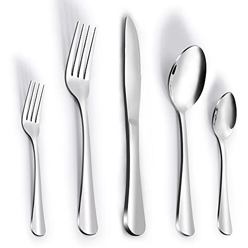 Besteck Set für 6 Personen,Edelstahl Besteck Set 30 teilig,Messer und Gabel Set,Silber Besteck Set ,Essbesteck,Cutlery Set,Glänzend Hart & Langlebig