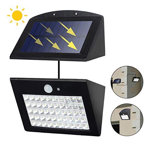 T-SUN Luce Solare 50 LED, Lampada Wireless ad Energia Solare da Esterno Impermeabile con Sensore di Movimento, 3 Modalità Funzione, per Parete, Muro, Giardino, Terrazzino, Cortile, Casa ecc.