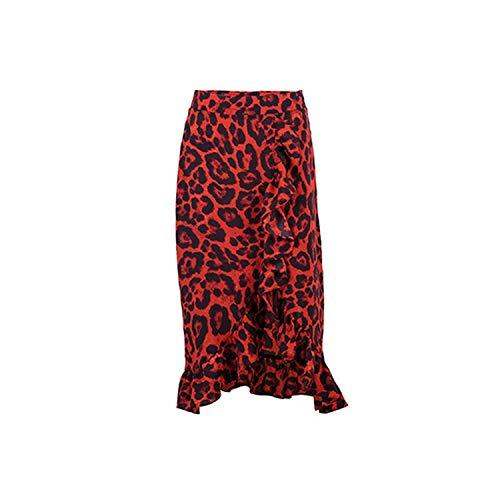 Leopard Lange Rok Vrouwen Hoge Taille Midi Rok Vrouwelijke Office Ruche Animal Print Rokken